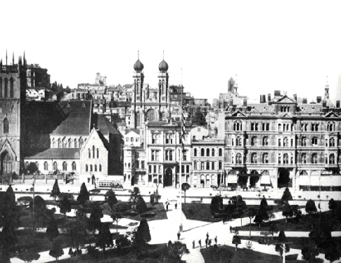 Union Square in 1875, prior to the construction of the monument
