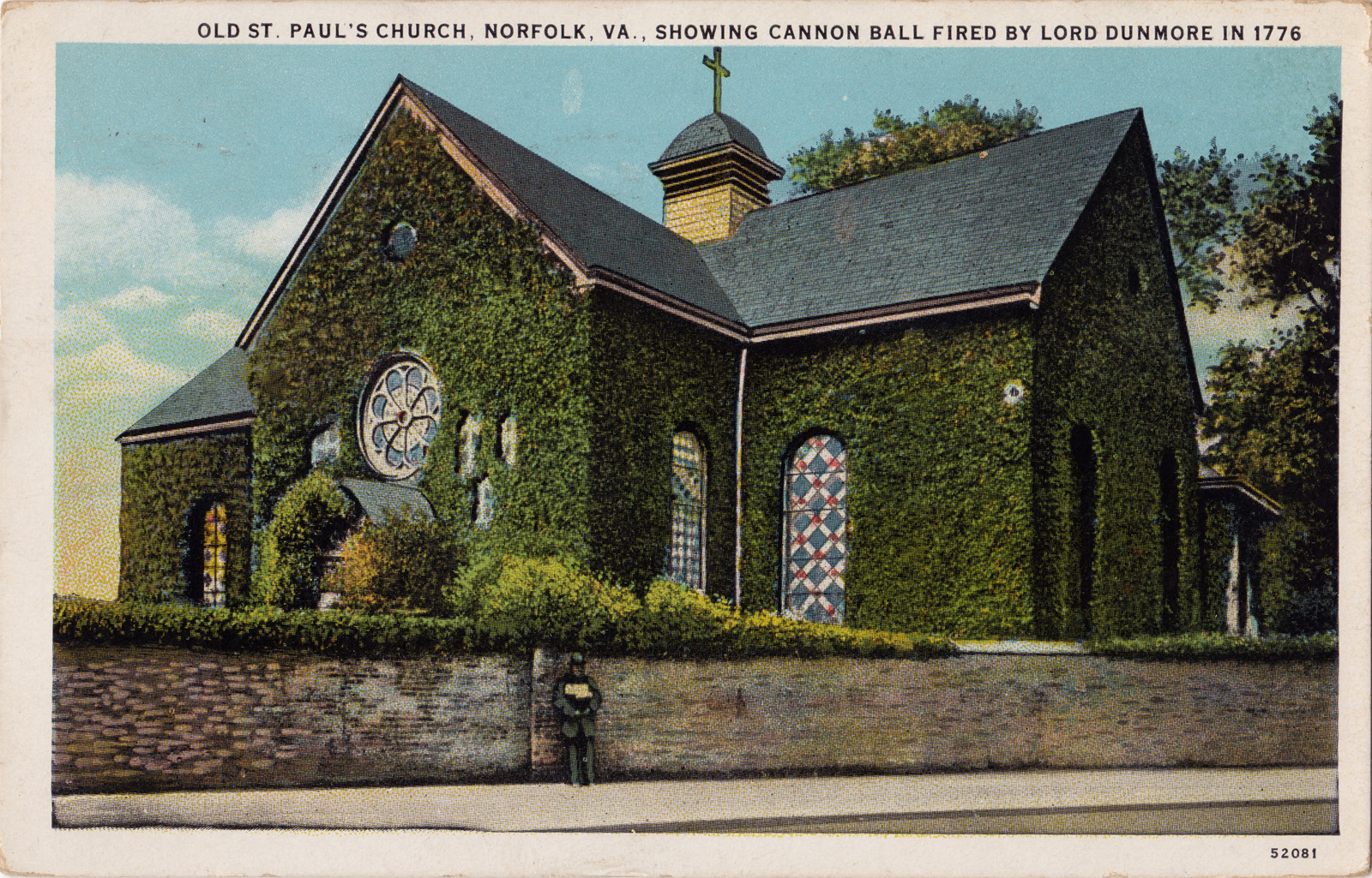 St. Paul's Church in a 1907 postcard.  Note the cannonball lodged in the upper right.