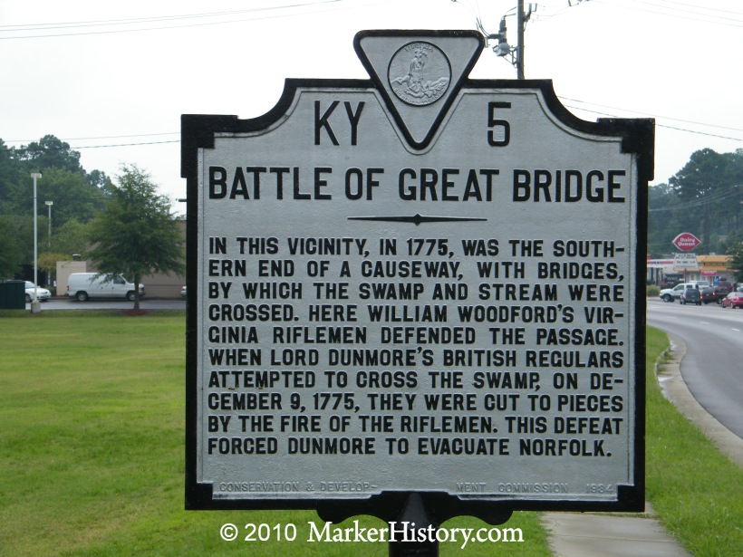 Marker at the site of the Battle of Great Bridge.