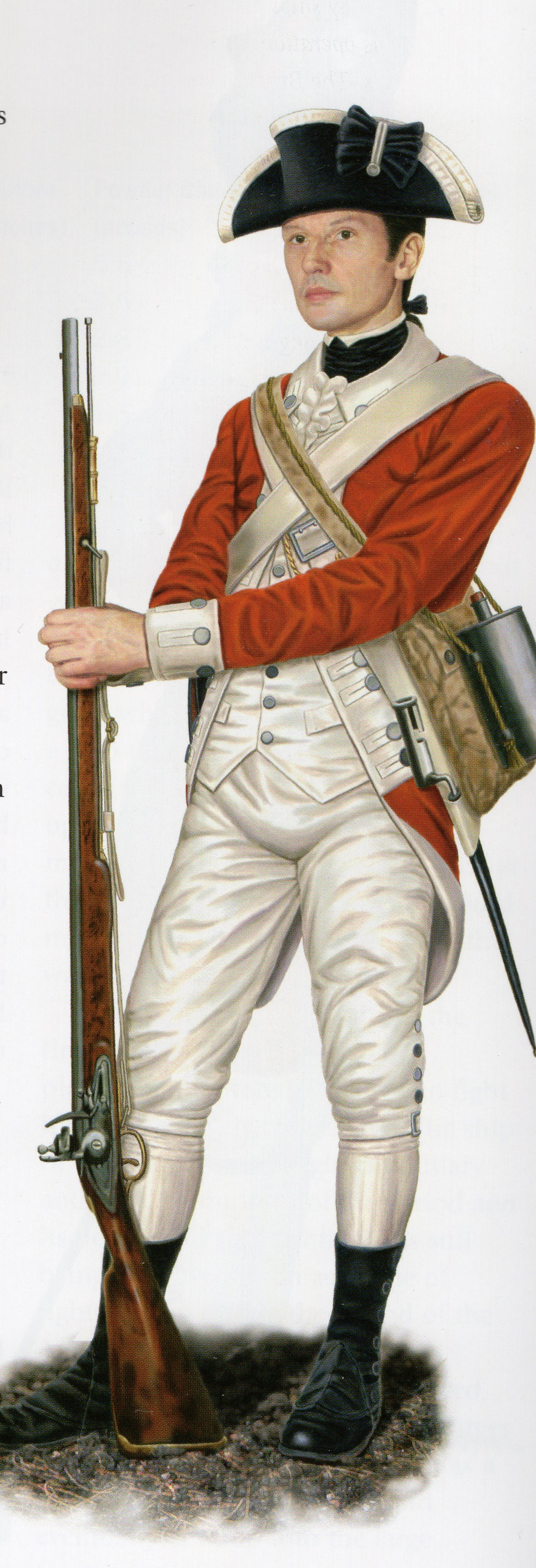 "Field uniform of a British Marine of the Revolutionary War. Dunmore's landing parties during the burning of Norfolk would have looked much like this.  From ""The Illustrated Encyclopedia of Uniforms from 1775-1784: The American Revolutionary War."""