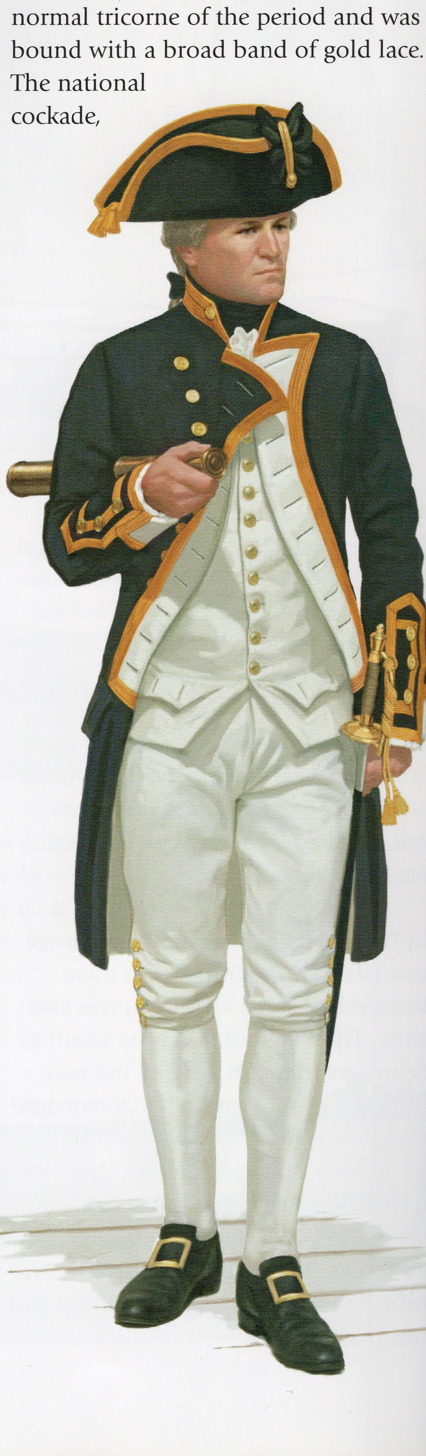 "Typical uniform of a Royal Navy captain. From ""The Illustrated Encyclopedia of Uniforms from 1775-1784: The American Revolutionary War."""