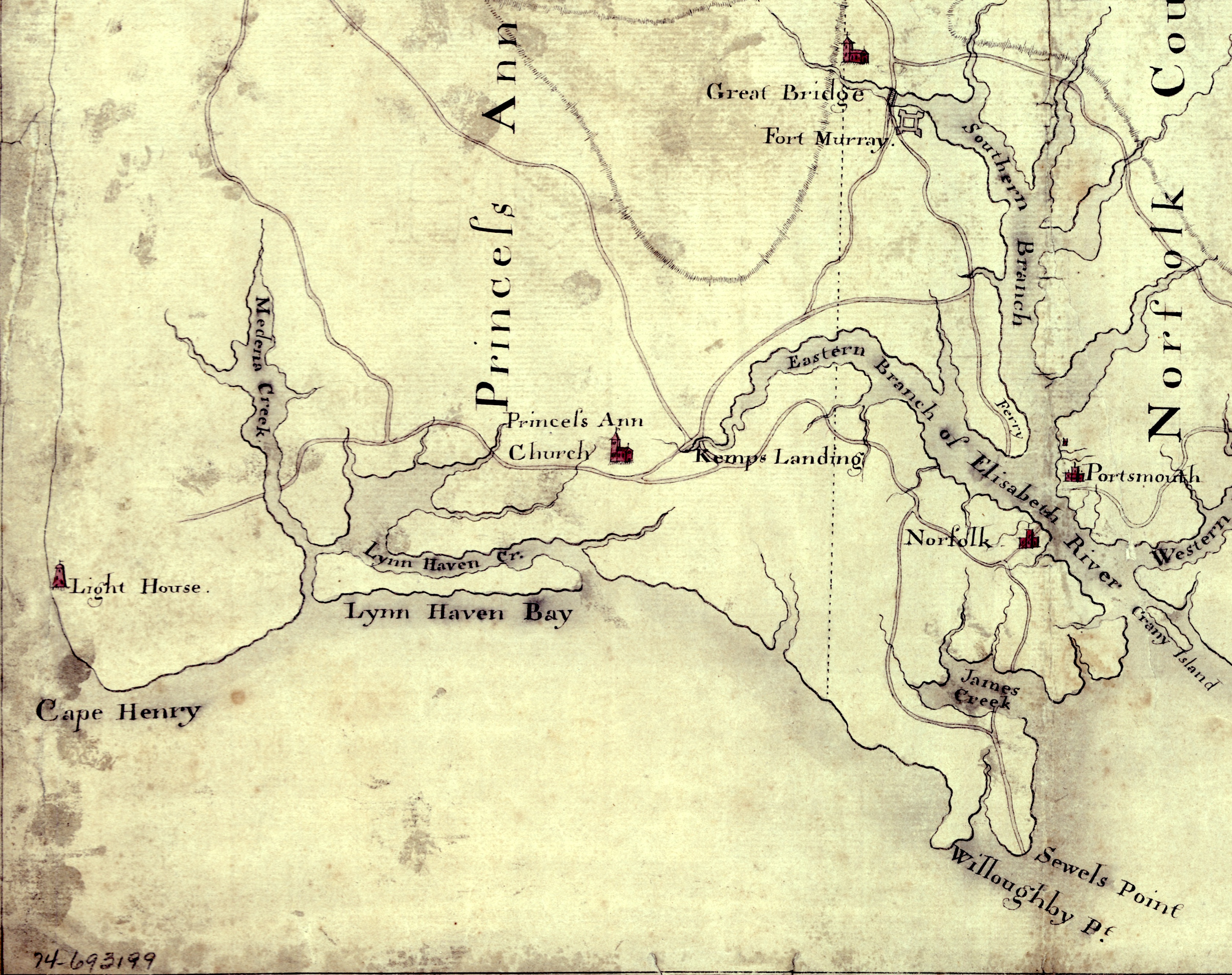 Map of the area near Norfolk at the time of the American Revolution.