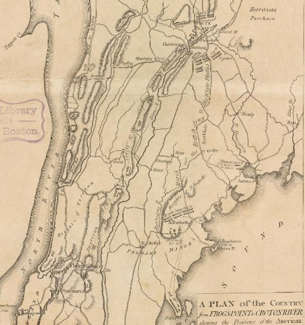 Map showing the British movements from Pell's Point to White Plains