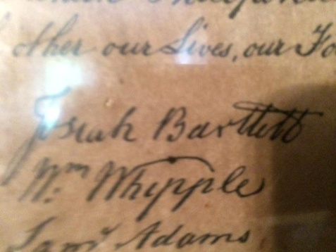 Bartlett's Signature on the Declaration of Independence