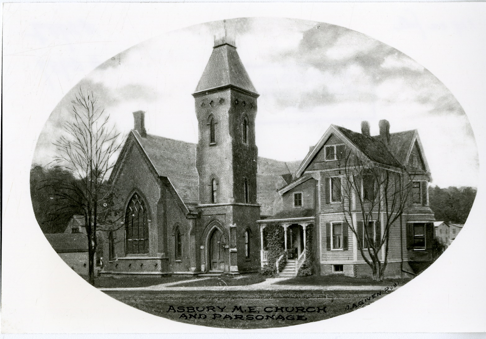 Asbury Methodist Episcopal Church and Parsonage, c.1900.