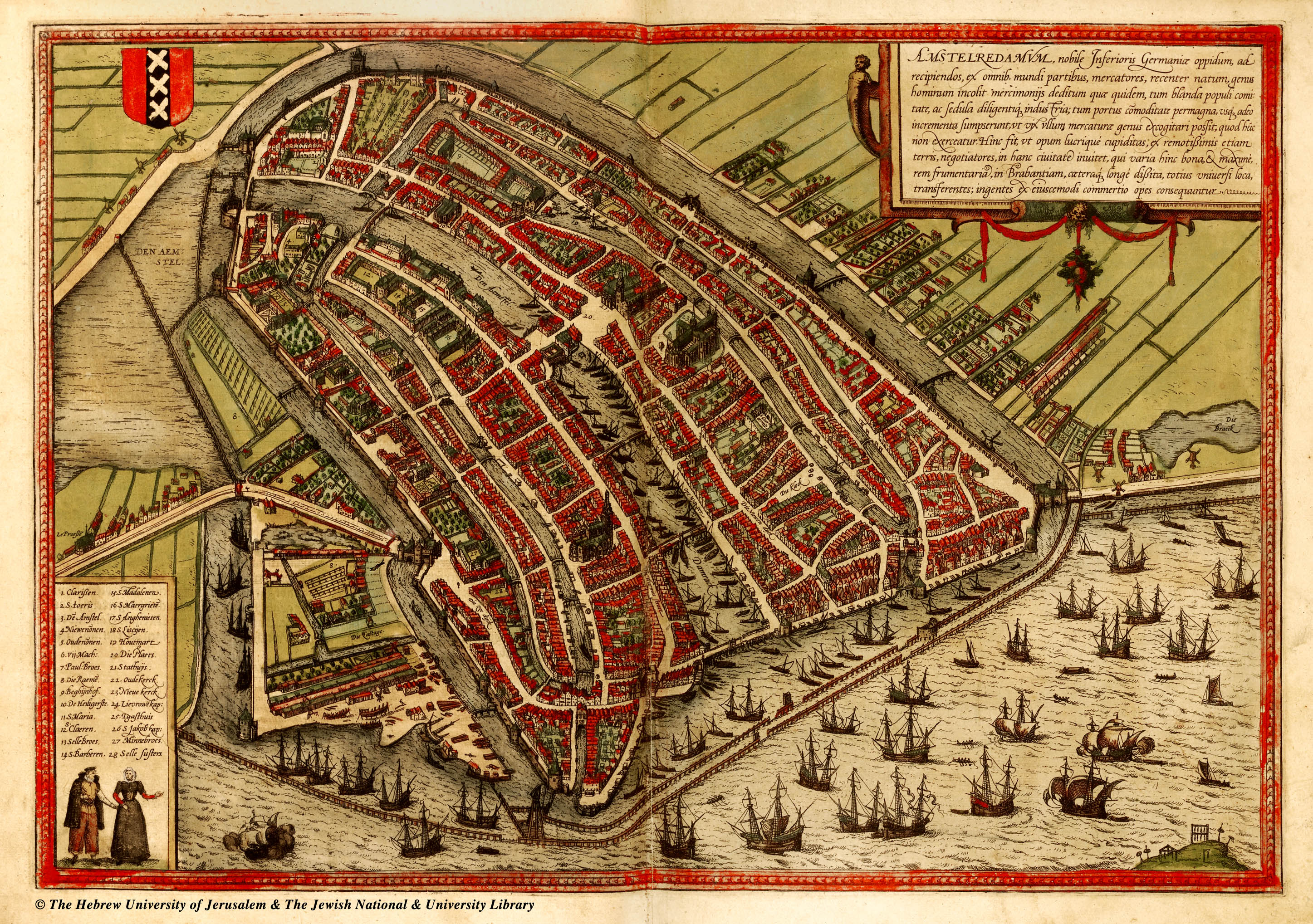 A map of Amsterdam in the mid 16th century, Oude Kerk can be seen in the lower left section of the city