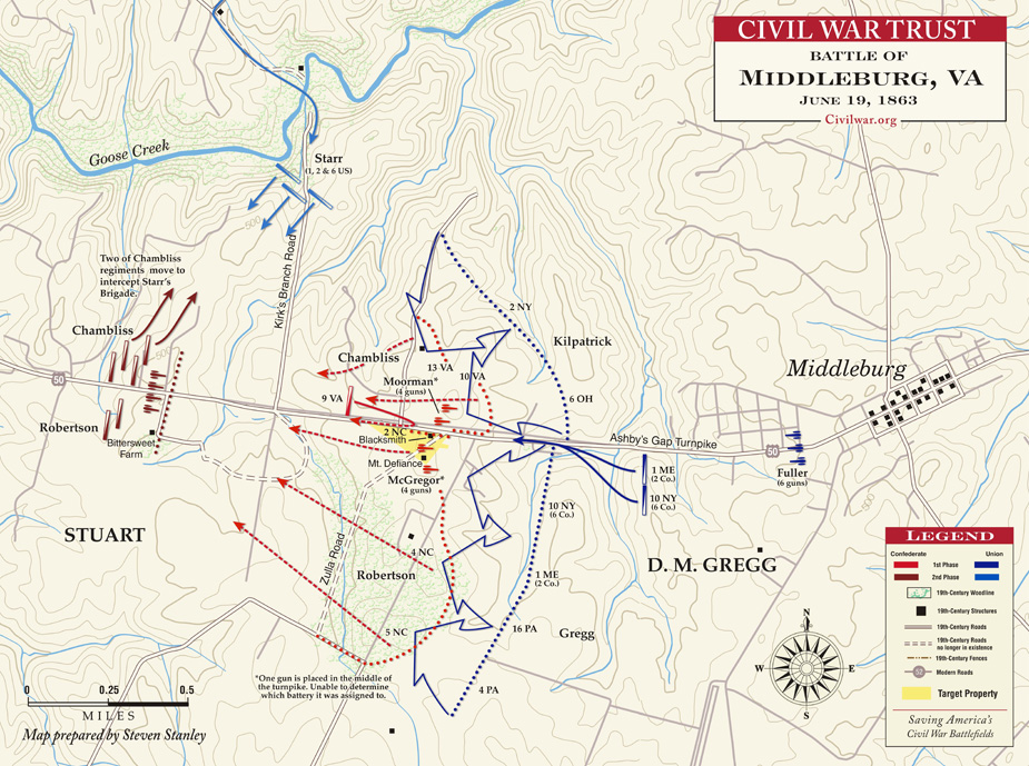 Map detailing troop movements during the Battle of Middleburg
