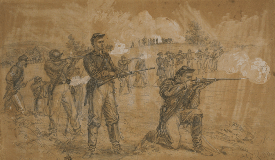 Sketch of Union troops during the battle