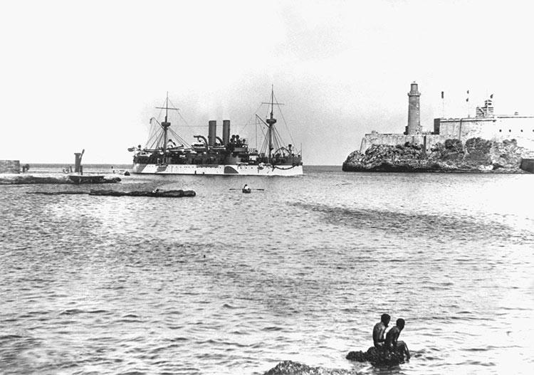 The U.S.S. Maine entering Havana Harbor in January 1898