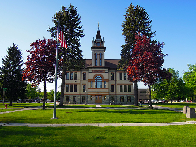 The Flathead County Courthouse was built in 1905 and is an excellent example of Chateauesque architecture.