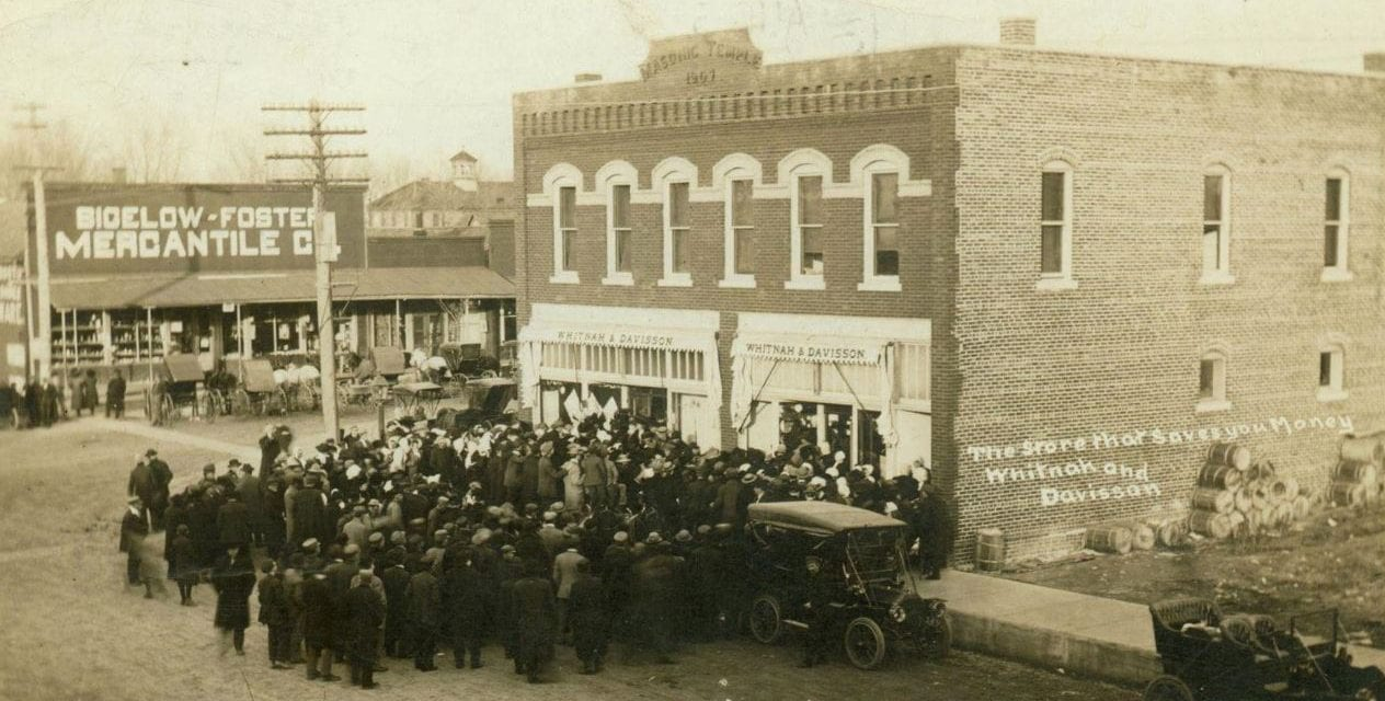 The Bigelow-Foster Mercantile can be seen in this photo, circa early 1910s. The building in the foreground was the first location of the mercantile.