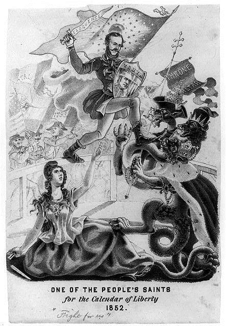 In this 1852 American political cartoon, Kossuth is pictured rescuing the Goddess of Liberty from the demonic forces of the Hapsburg Empire and its Catholic monarch. Notice the American cheering for Kossuth in the background, demonstrating the connec