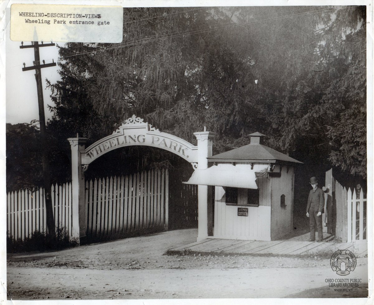 Park's entrance in the 1890s. Image courtesy of Ohio County Public Library, Wheeling WV.