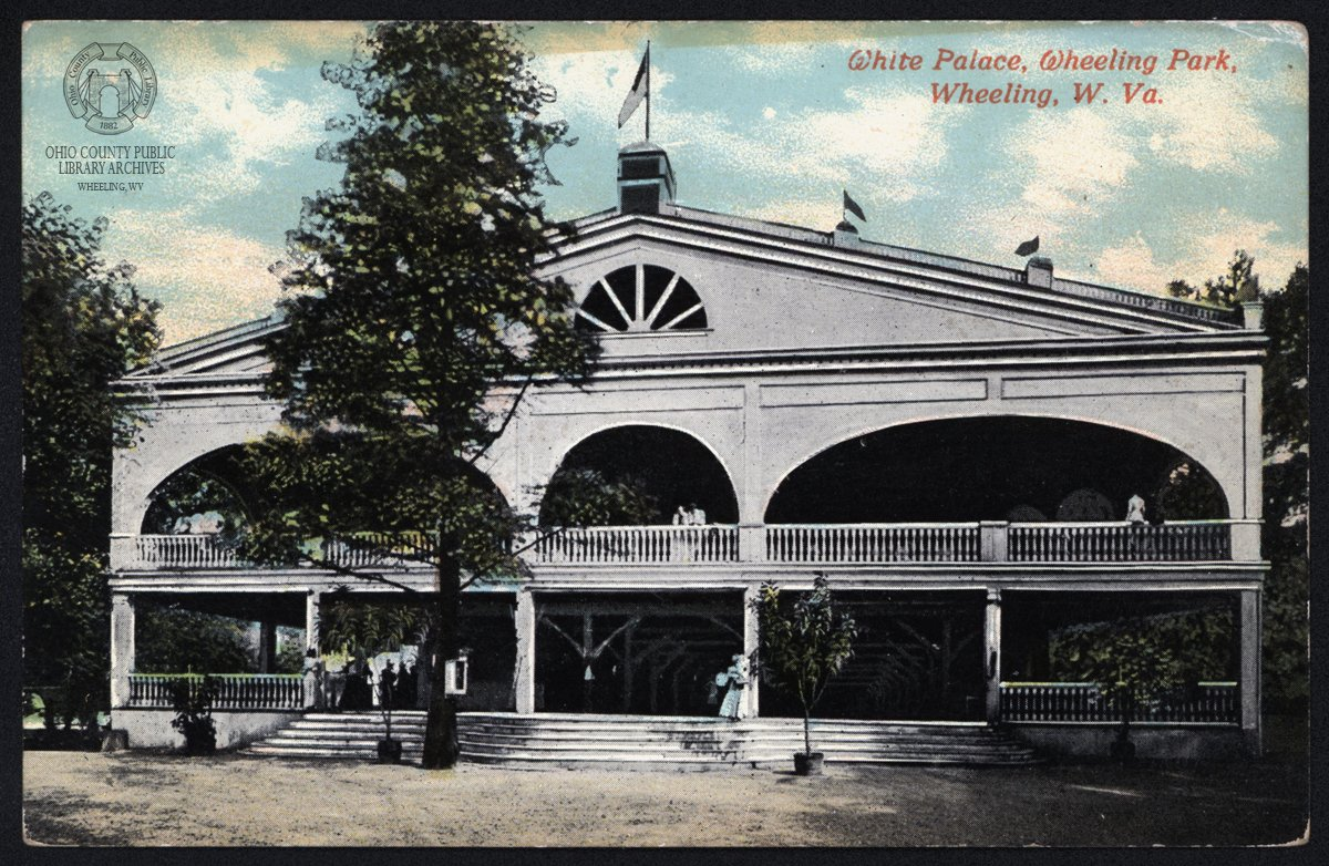 Postcard of the original White Palace pavilion. Image courtesy of Ohio County Public Library, Wheeling WV.