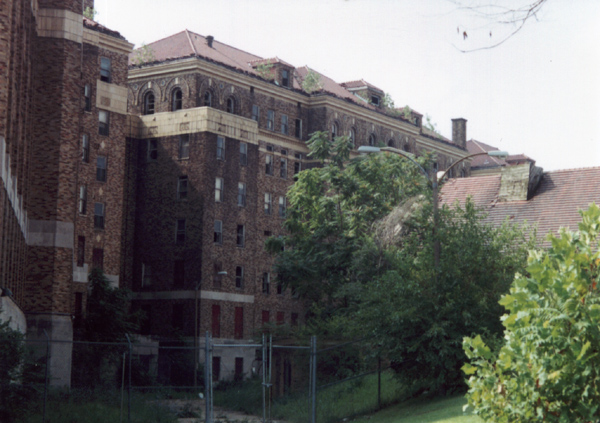This photo from 1997 shows the abandoned building prior to renovation and repurposing as a senior center.