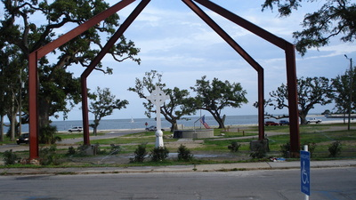 The church was destroyed in 2005 during Hurricane Katrina. The cross and arches were built on the location of the church