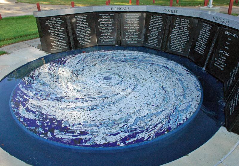 The memorial was rebuilt after being severely damaged by Hurricane Katrina in 2005.