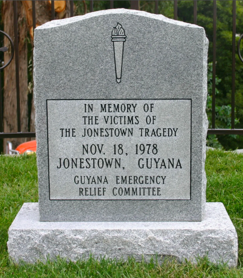 The original gravestone memorial from the Jonestown Memorial Site.