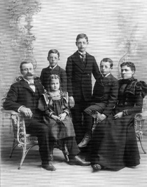 George and Evvie Parker with their children Charles, Frank, George, and Alice.