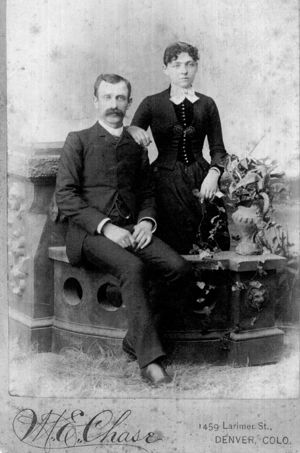 George Parker immigrated to the States from Canada in 1870, and met a woman from Iowa named Evvie whom he later married on December 31, 1881. After living in Colorado, they soon moved to Seattle in 1907. Pictured are George and Evvie Parker.
