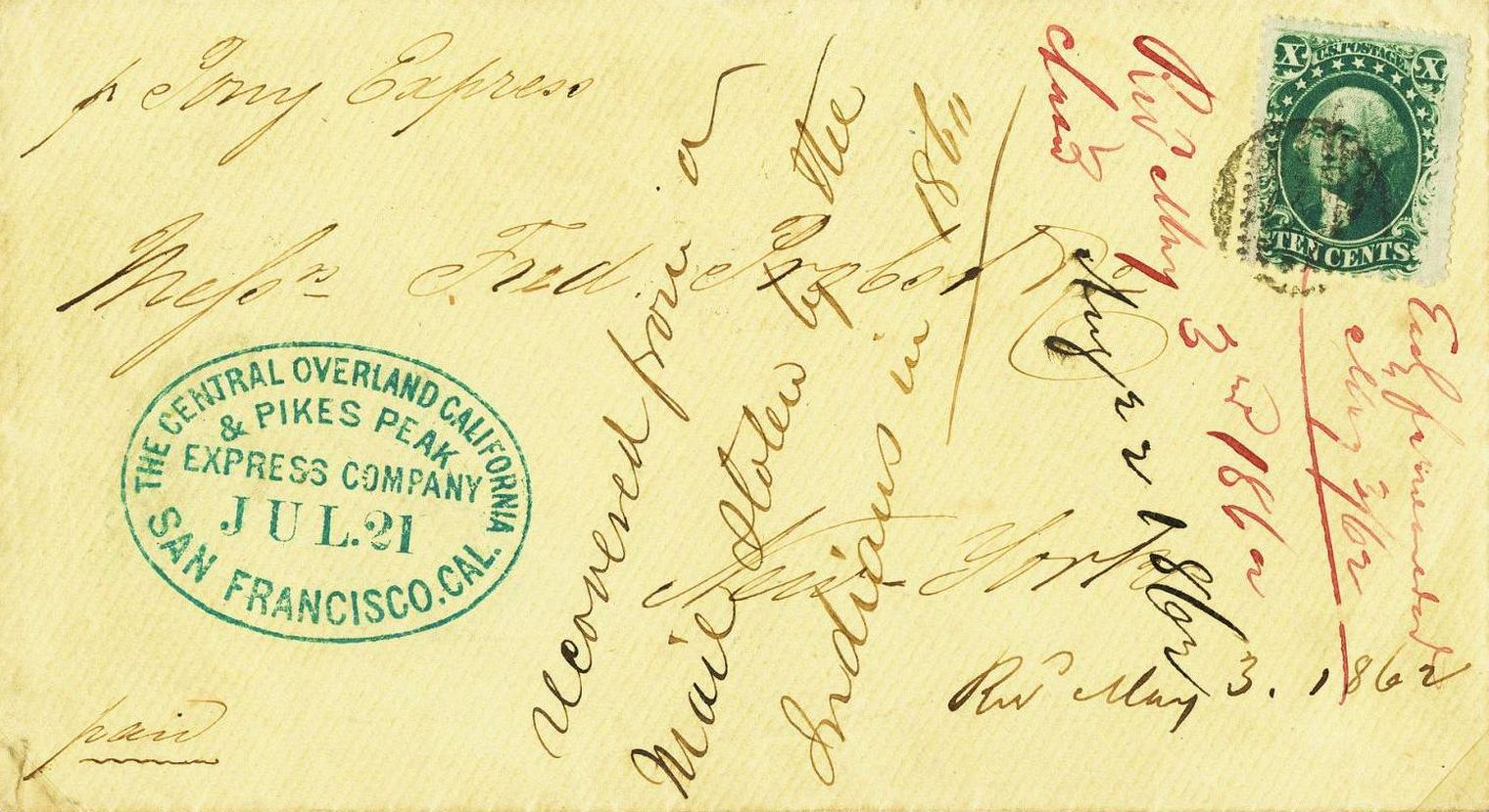 Mail Stolen from the Pony Express, which was recovered and finally reached New York on May 3, 1862.