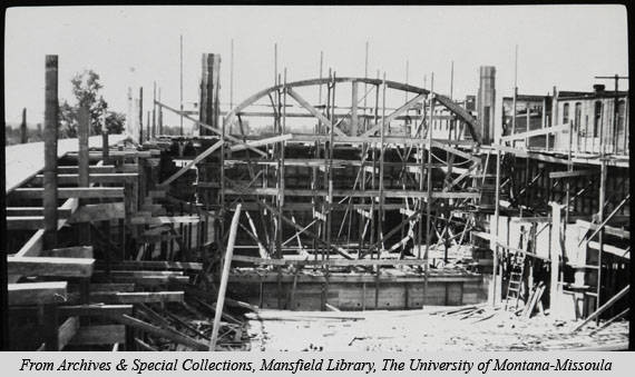 This picture showcases the construction of the Wilma Theatre stage in 1920.