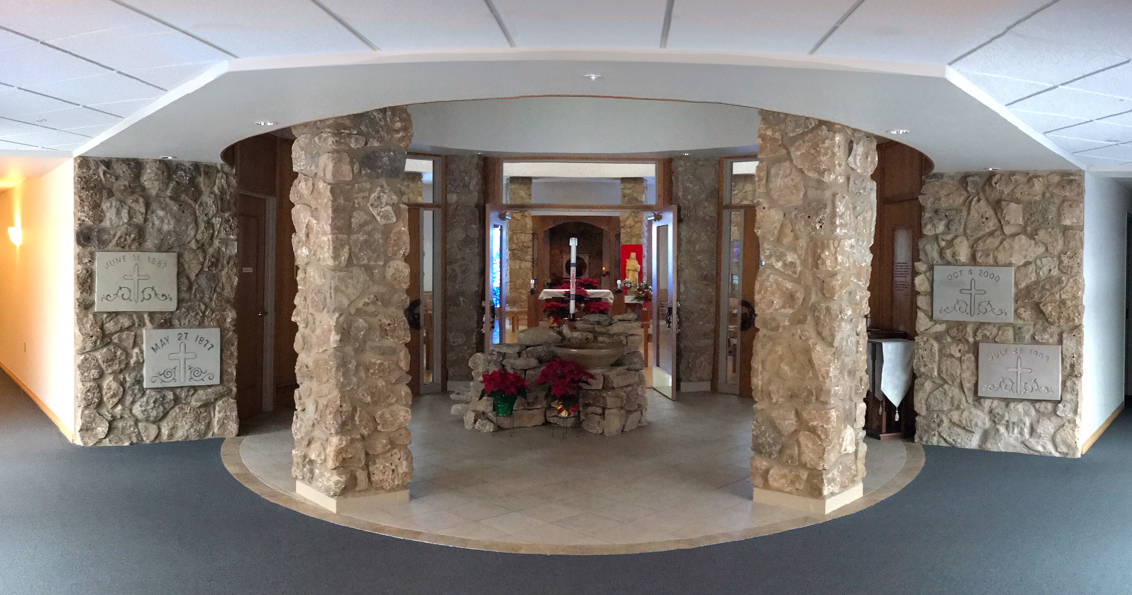 Entrance to the chapel at the CSA motherhouse showing the cornerstones from early motherhouses.