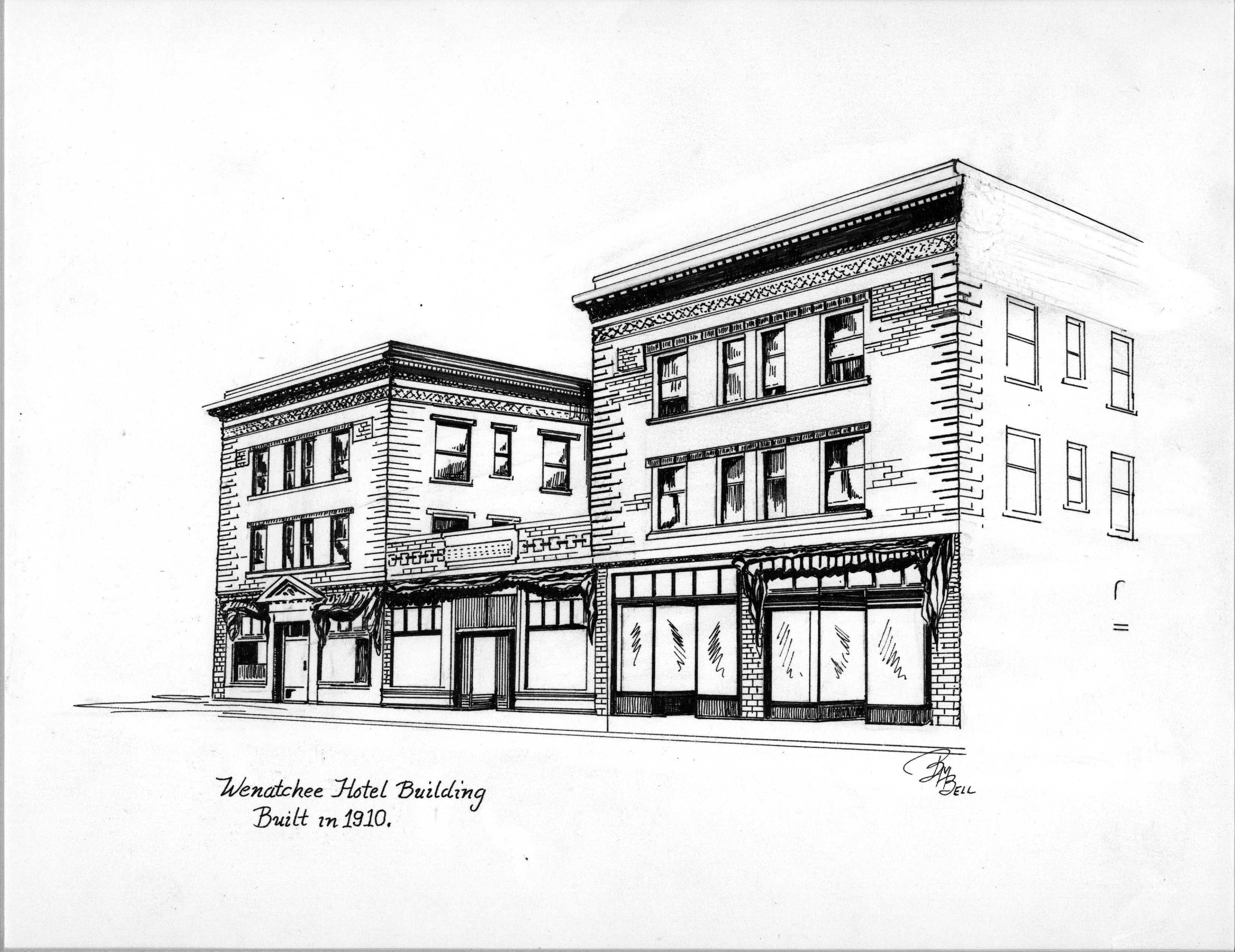 Illustration by artist Betty Bell of the Wenatchee Hotel