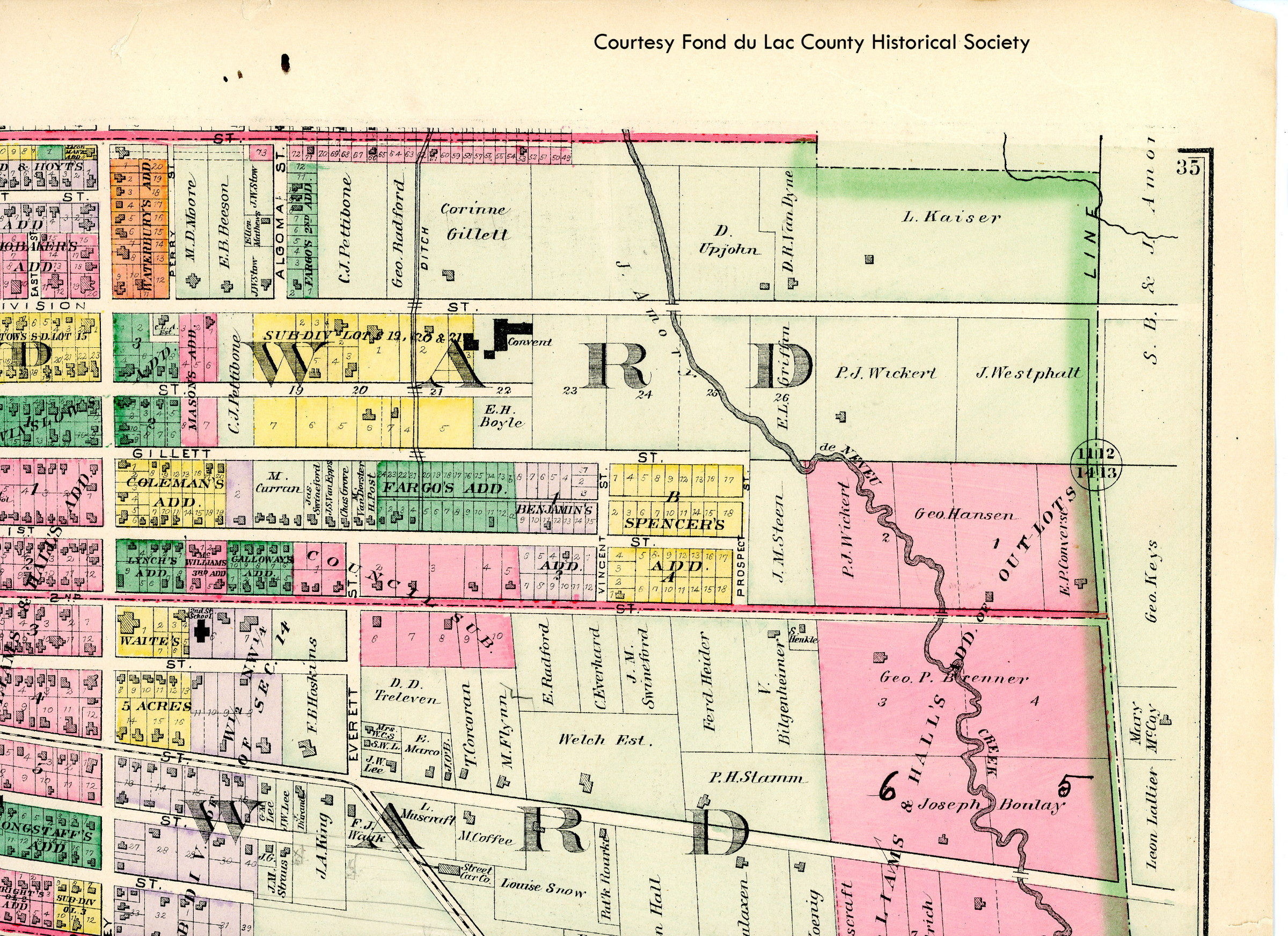 Plat map from 1874 showing the Sisters of St. Agnes Convent on Division Street