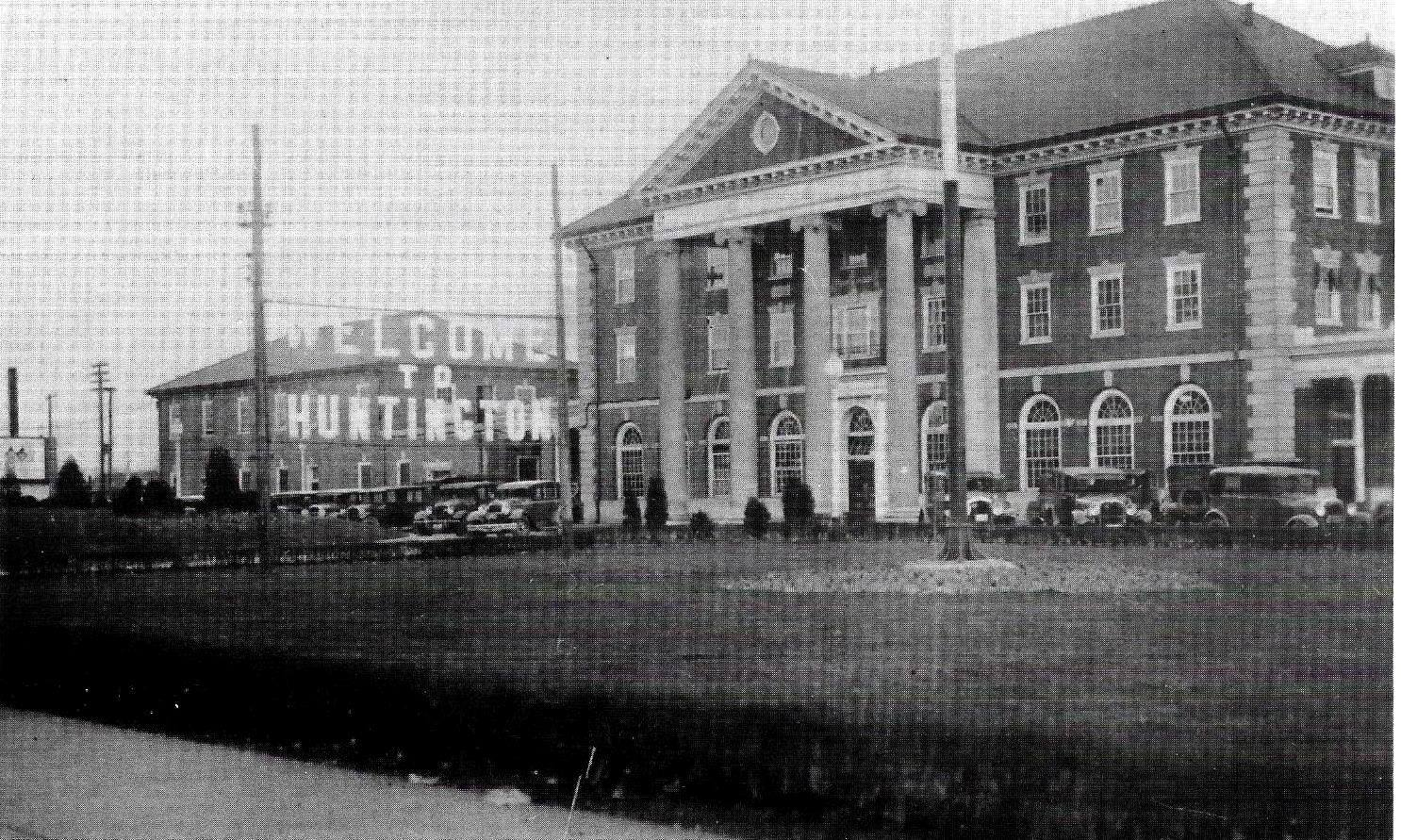 The C&O station, circa 1930s, with a Welcome To Huntington sign outside