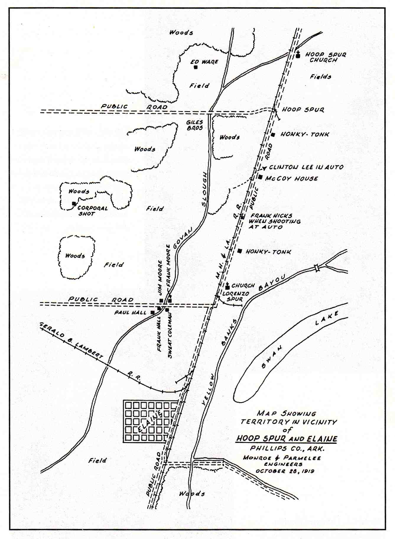 This map shows the locations of several key events during the massacre.