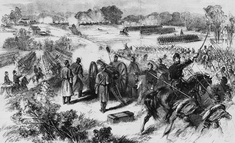 Sketch of the Battle of Dranesville from the January 11th, 1862 issue of Frank Leslie's Illustrated Newspaper
