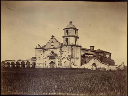 The church as it appeared in 1890. This mission features the only wooden cupola on any of the 21 California missions.