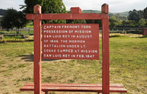 One of two markers noting the encampment of the Mormon Battalion at the mission. The  Battalion was organized by the Latter Day Saints Church in the hopes that it would lead to more support from the U.S. government.