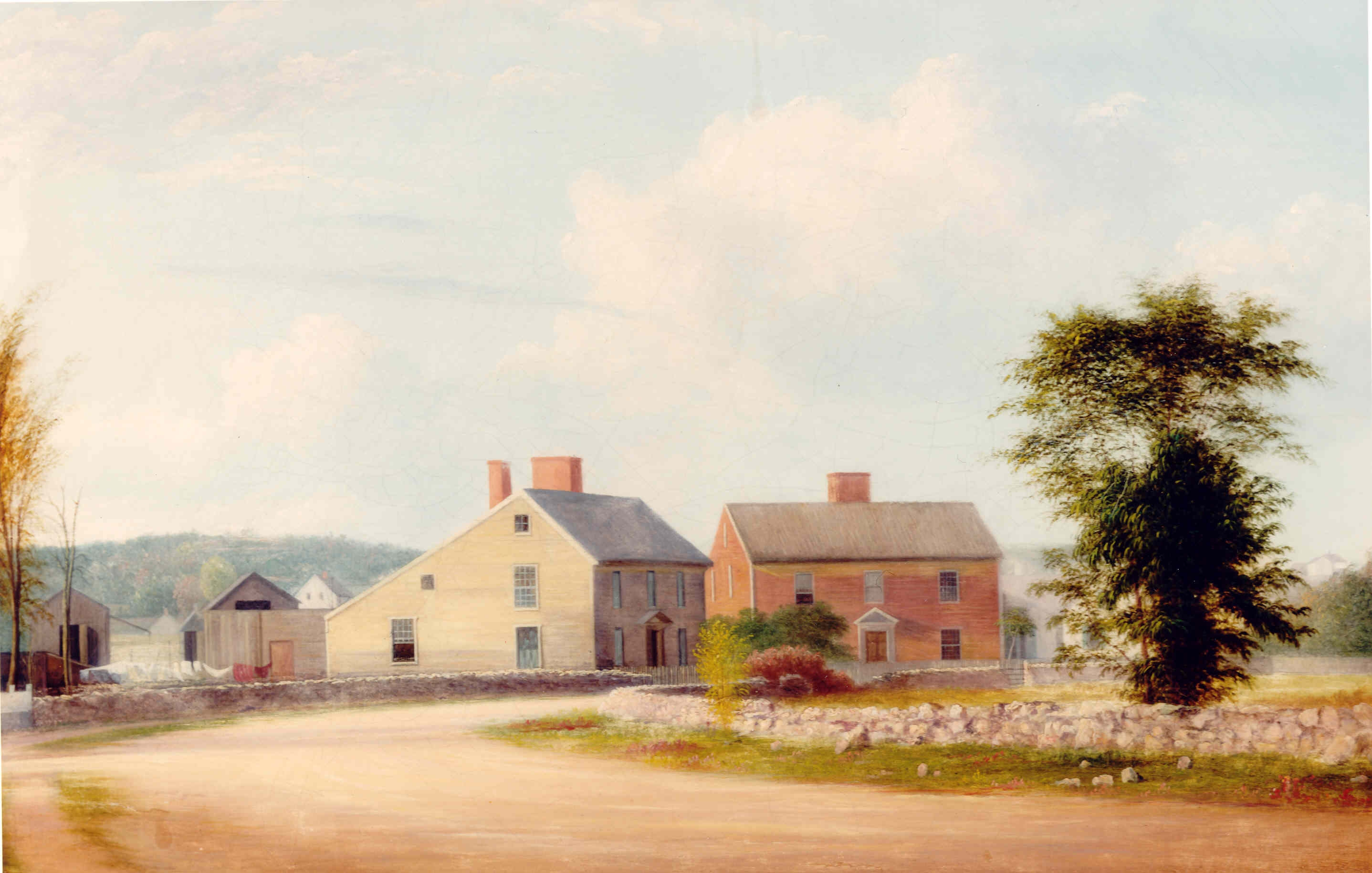 The Birthplace homes as painted by Godfrey Frankenstein in 1849.