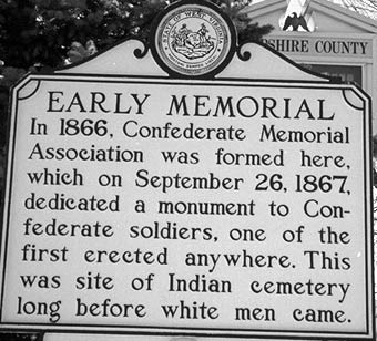 This historical marker is located next to the Confederate Memorial which was erected by white Confederate sympathizers shortly after the Civil War.