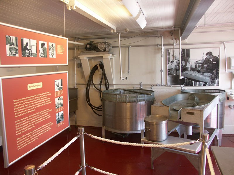 One of the exhibits within the oyster house, to include an oyster blow tank.