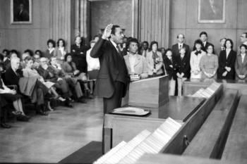 Courtroom during hearings