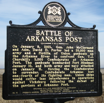Historical marker explains the Battle of Arkansas Post when more than 30,000 Union men forced the surrender of about 5,000 Confederates at Fort Hindman.