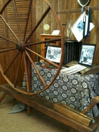 A spinning wheel on display