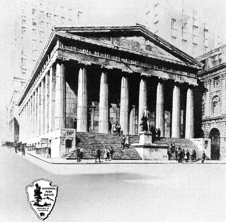 Image of Federal Hall with arrowhead