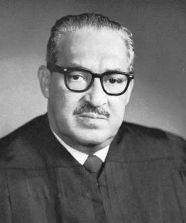 A portrait of Thurgood Marshall.