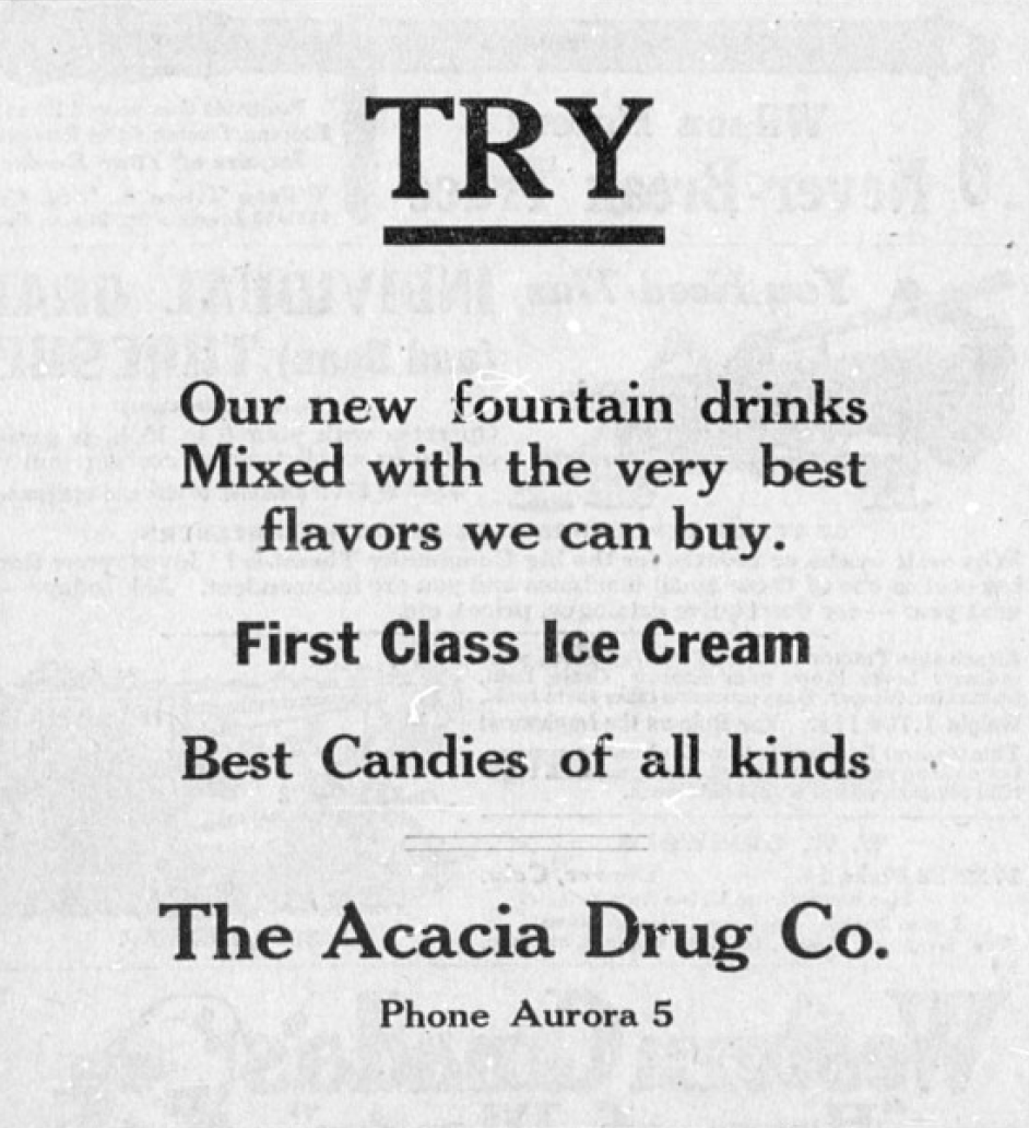 Advertisement for The Acacia Drug Co.
