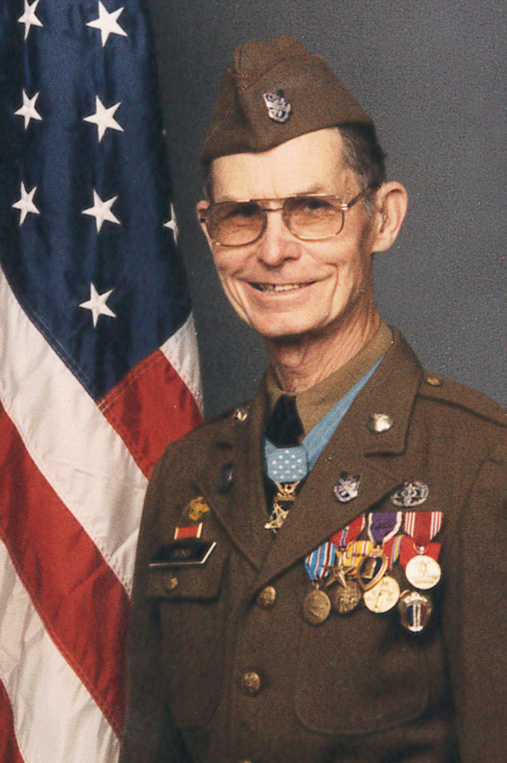 This photo is of Desmond Doss and features all of his awards including the Medal of Honor