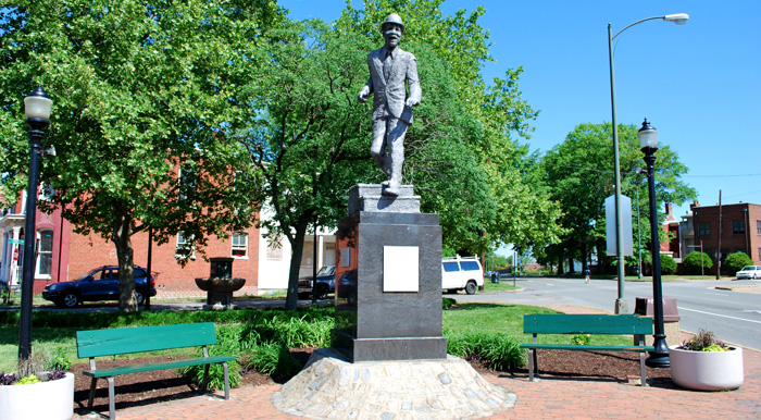 """A 9-foot statue of famed actor and tap dancer Bill """"Bojangles"""" Robinson on the corner of Leigh and Adams in Jackson Ward"""