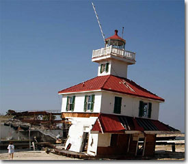 1890 Lighthouse after Hurricanes Katrina and Rita but before the cupola fell