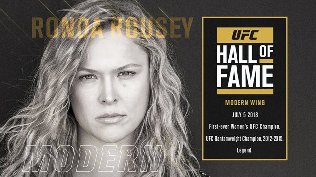 Ronda Rousey is also another iconic figure in the sport of MMA. She was the first of her kind, a dominate female MMA fighter. Ronda Rousey is in large part a reason why the sport of MMA grew so much in the middle part of this decade. She brought so much women to the sport of MMA and she is the main reason why female fighters are in the UFC today. She is apart of the modern wing of the UFC Hall of Fame, but she is surely a pioneer for women's MMA. During her reign at the top she was a dominant champion. She used her Olympic level Judo to dominate every woman she faced. She had 6 total title defenses during her reign as the UFC Women's Bantamweight champion. Ronda Rousey is a polarizing figure in the MMA community, however. Many believe that if she rose to popularity in today's MMA scene that he would get easily dominated based on her one style type of fighting. While some still consider her the great of all time when it comes to MMA. The MMA community will never know how she would fair in today's game but regardless she deserves a spot in the UFC Hall of Fame because she was the first of her kind and greatly enhanced the UFC's hold on MMA dominance throughout the world.