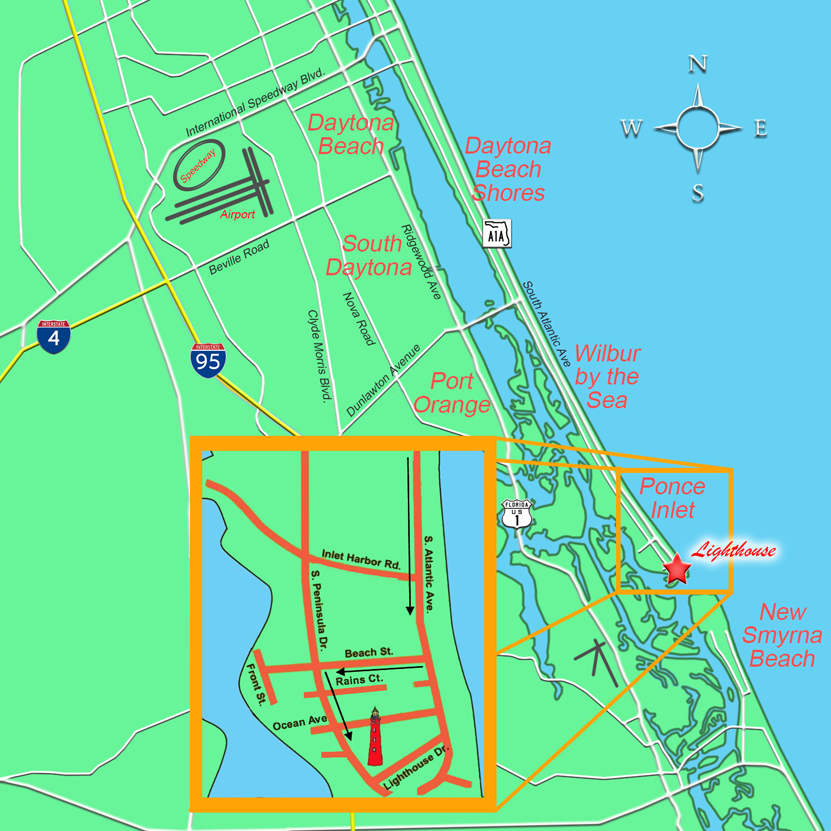 Location of Ponce de Leon Inlet's lighthouse.