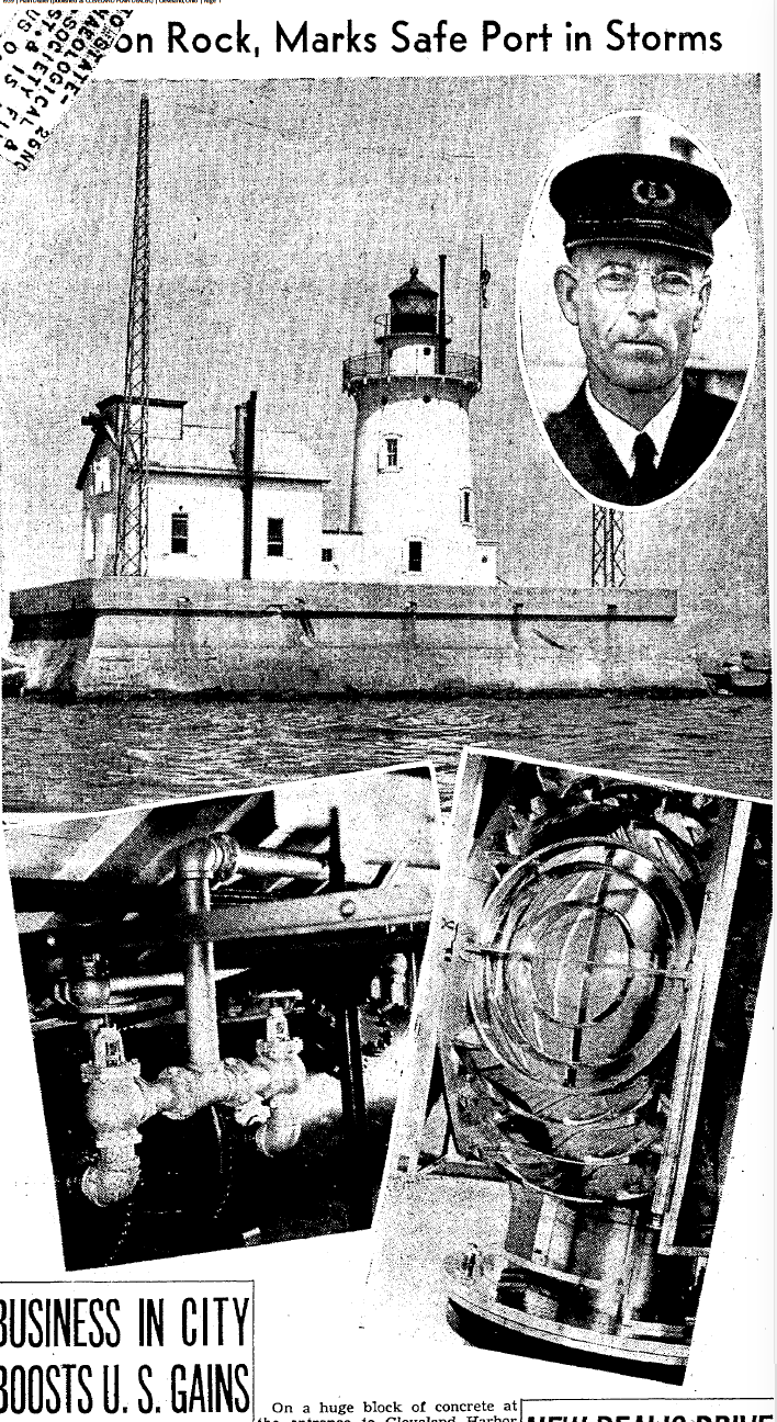 1939 Plain Dealer Article featuring the Lightkeepers (Charles Perry pictured)