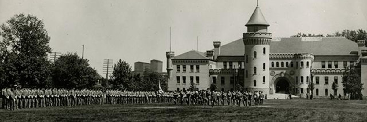 Cadets drilling in front of the Armory